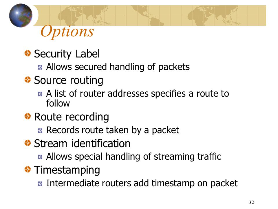Options Security Label Source routing Route recording