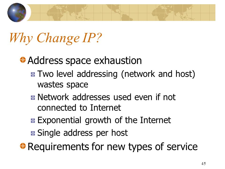 Why Change IP Address space exhaustion