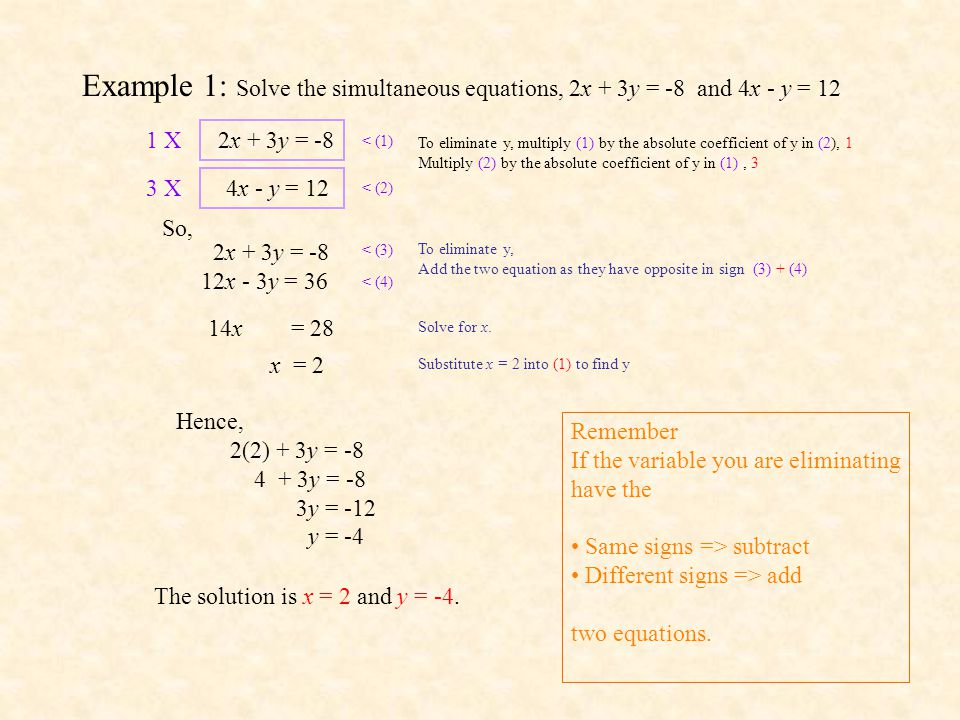 Example 1: Solve the simultaneous equations, 2x + 3y = -8 and 4x - y = 12
