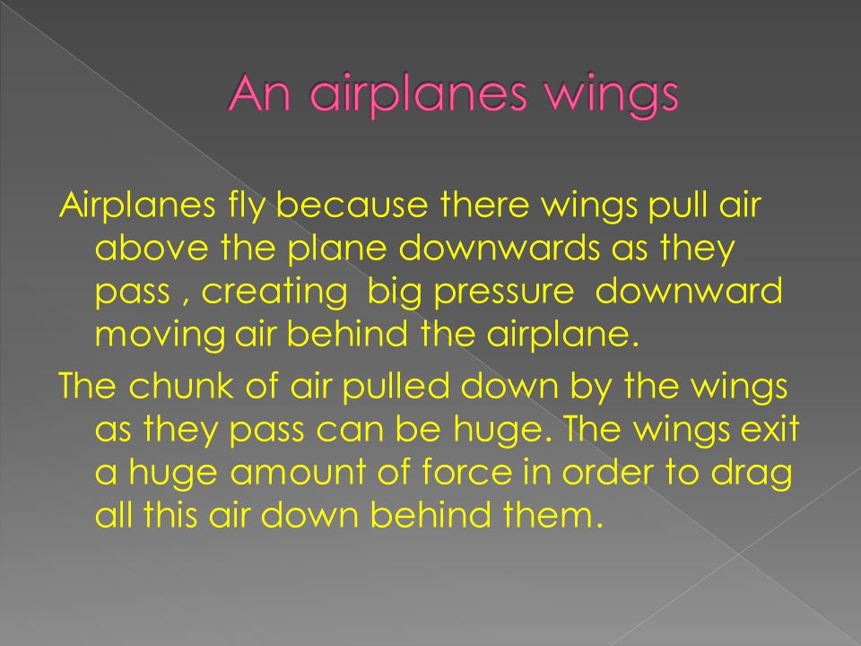 An airplanes wings