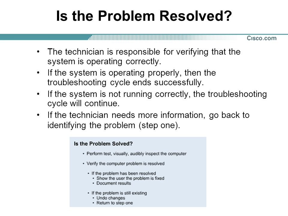 Is the Problem Resolved