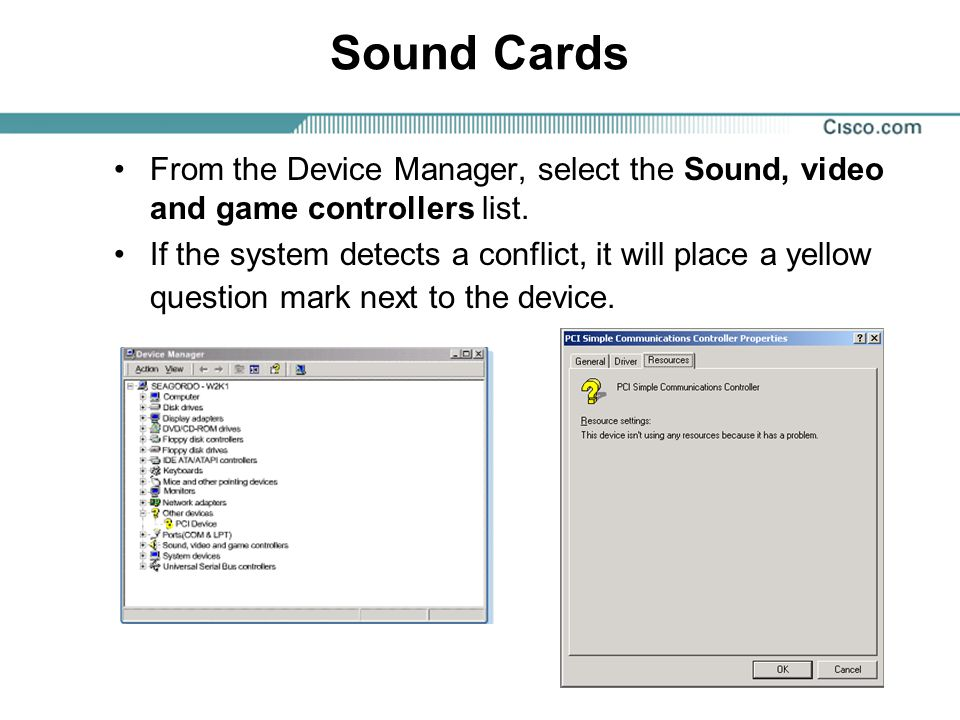Sound Cards From the Device Manager, select the Sound, video and game controllers list.