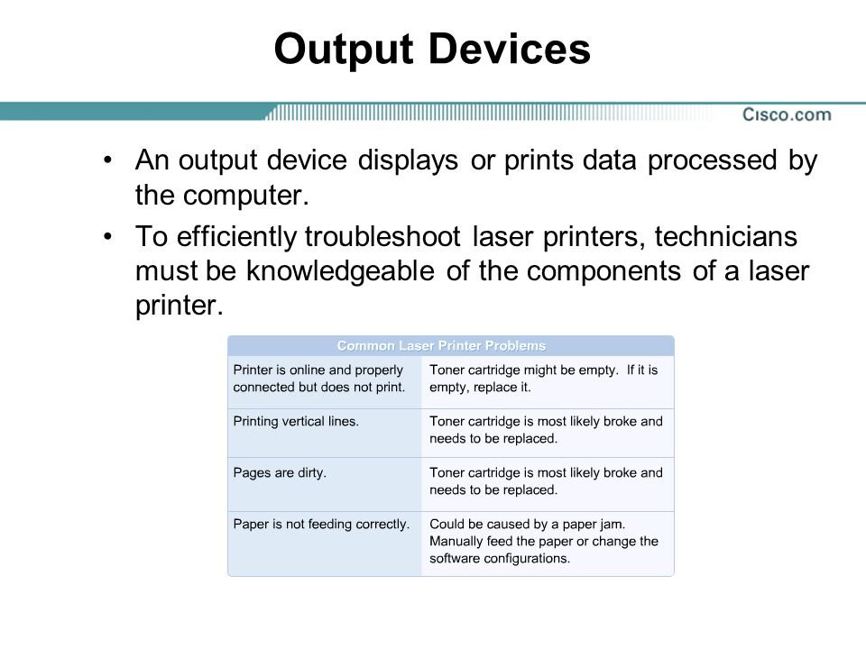 Output Devices An output device displays or prints data processed by the computer.