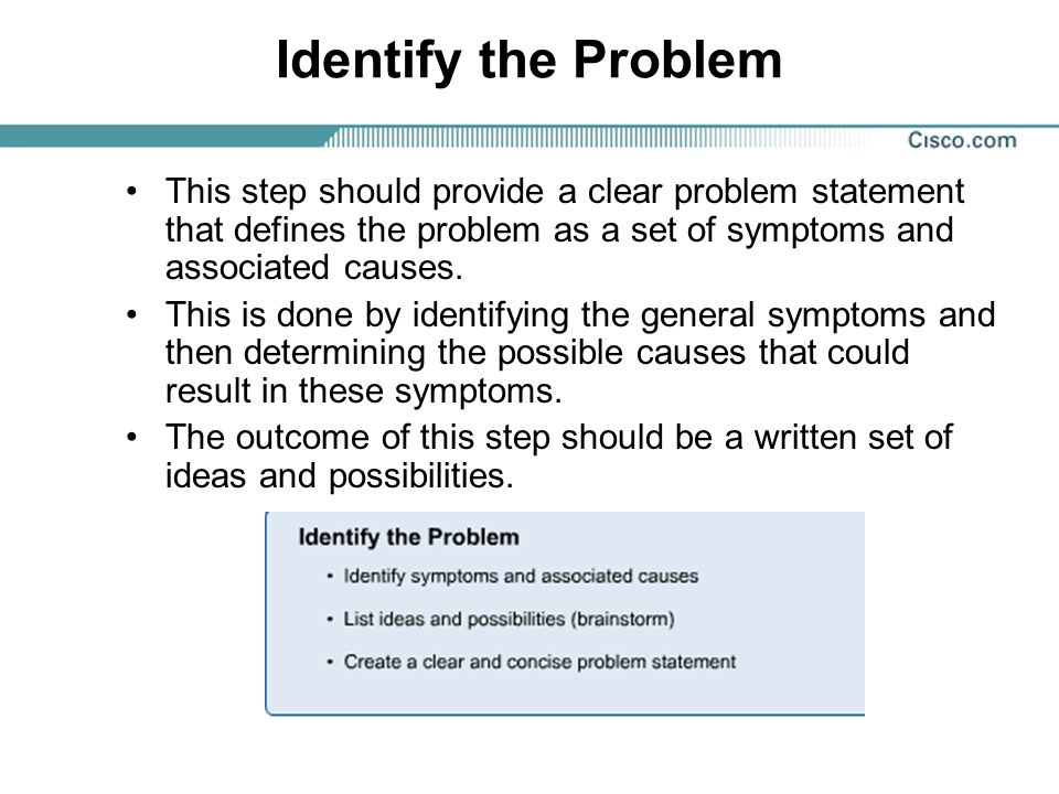 Identify the Problem This step should provide a clear problem statement that defines the problem as a set of symptoms and associated causes.