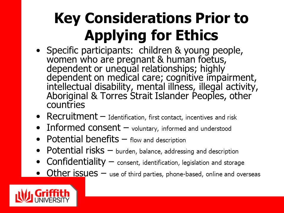 Key Considerations Prior to Applying for Ethics