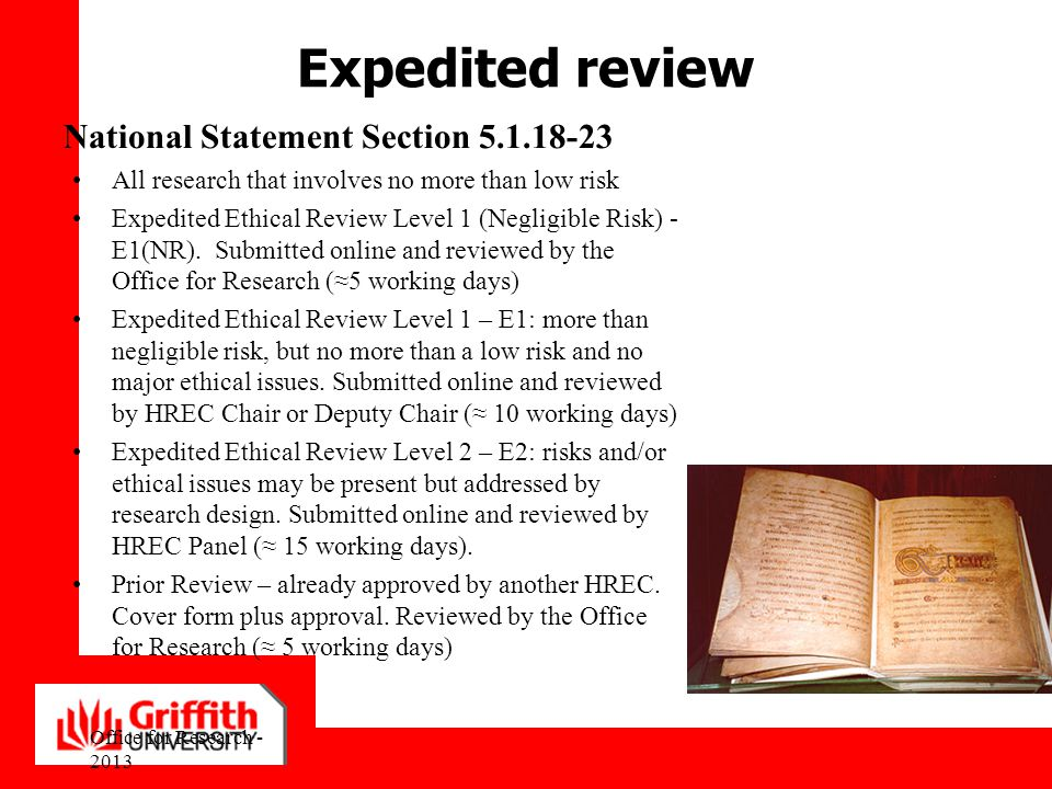 Expedited review National Statement Section 5.1.18-23
