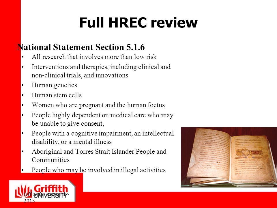 Full HREC review National Statement Section 5.1.6