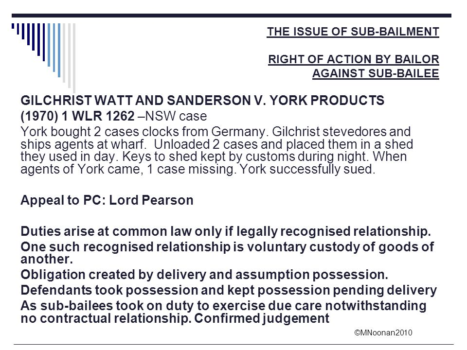 GILCHRIST WATT AND SANDERSON V. YORK PRODUCTS