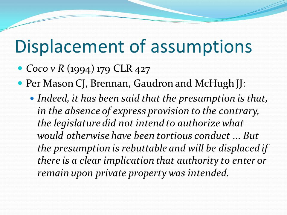 Displacement of assumptions
