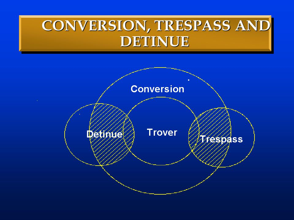CONVERSION, TRESPASS AND DETINUE