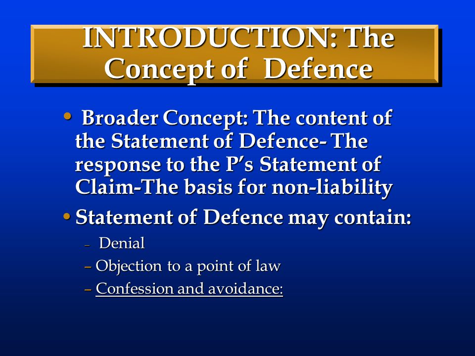 INTRODUCTION: The Concept of Defence