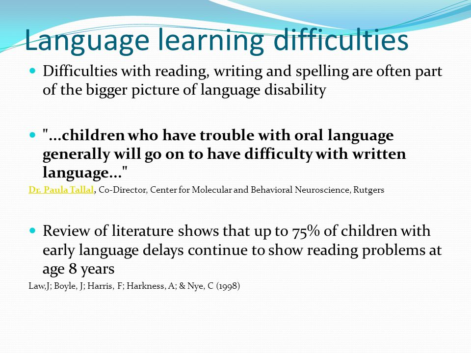 Language learning difficulties