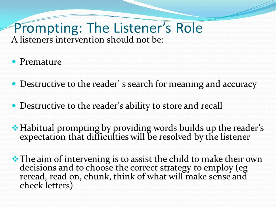 Prompting: The Listener's Role
