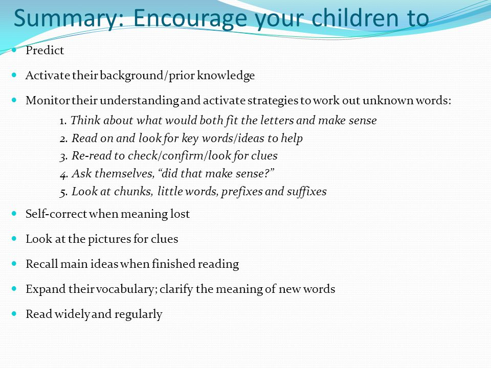 Summary: Encourage your children to