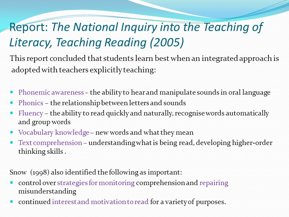 Report: The National Inquiry into the Teaching of Literacy, Teaching Reading (2005)