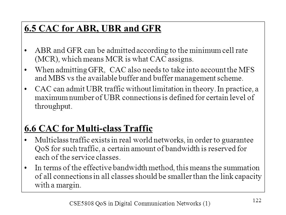 6.6 CAC for Multi-class Traffic