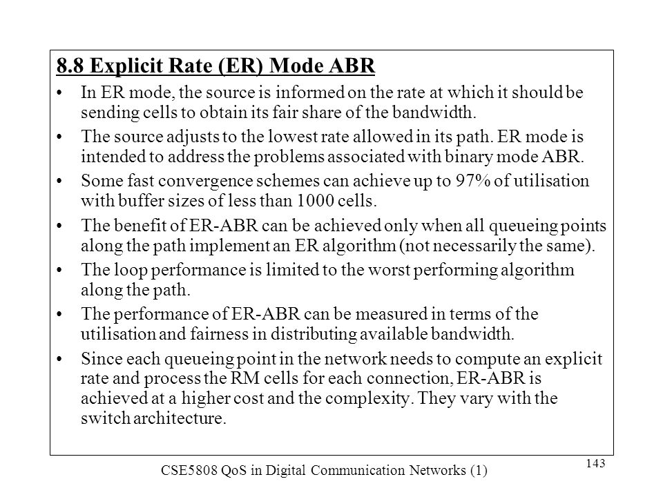 8.8 Explicit Rate (ER) Mode ABR