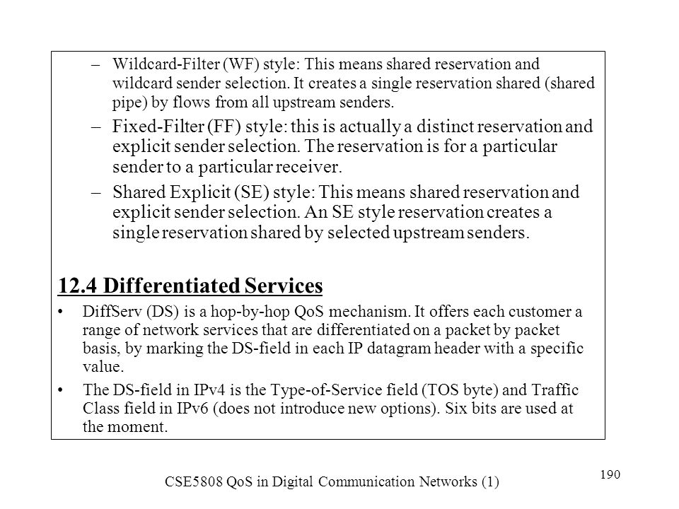 12.4 Differentiated Services
