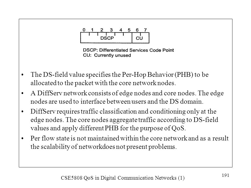 The DS-field value specifies the Per-Hop Behavior (PHB) to be allocated to the packet with the core network nodes.