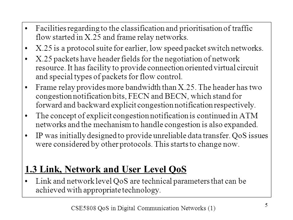 1.3 Link, Network and User Level QoS