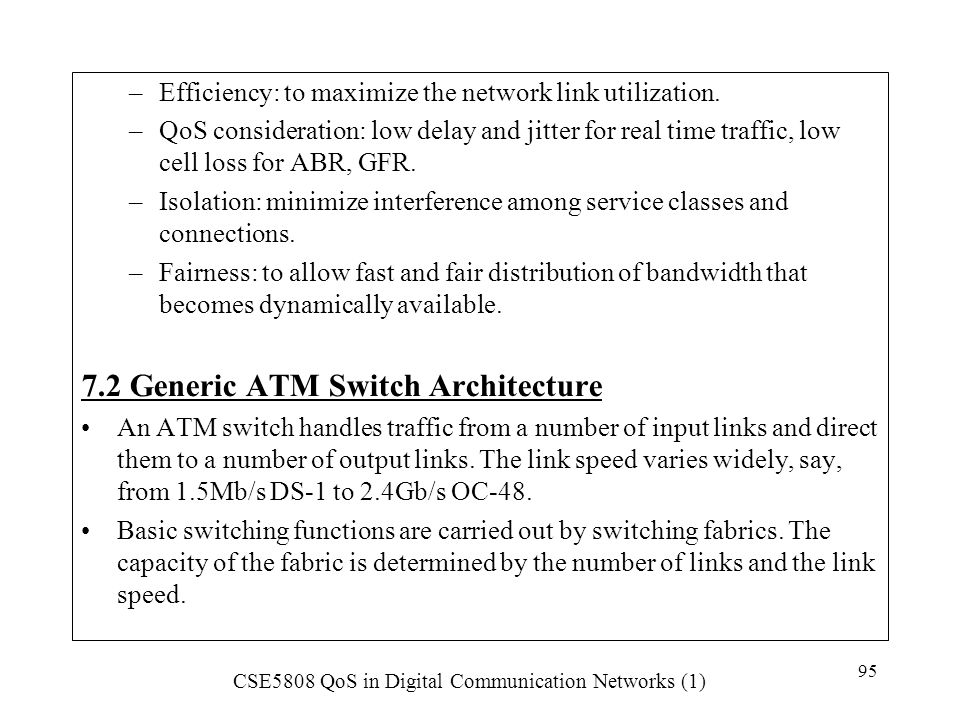 7.2 Generic ATM Switch Architecture