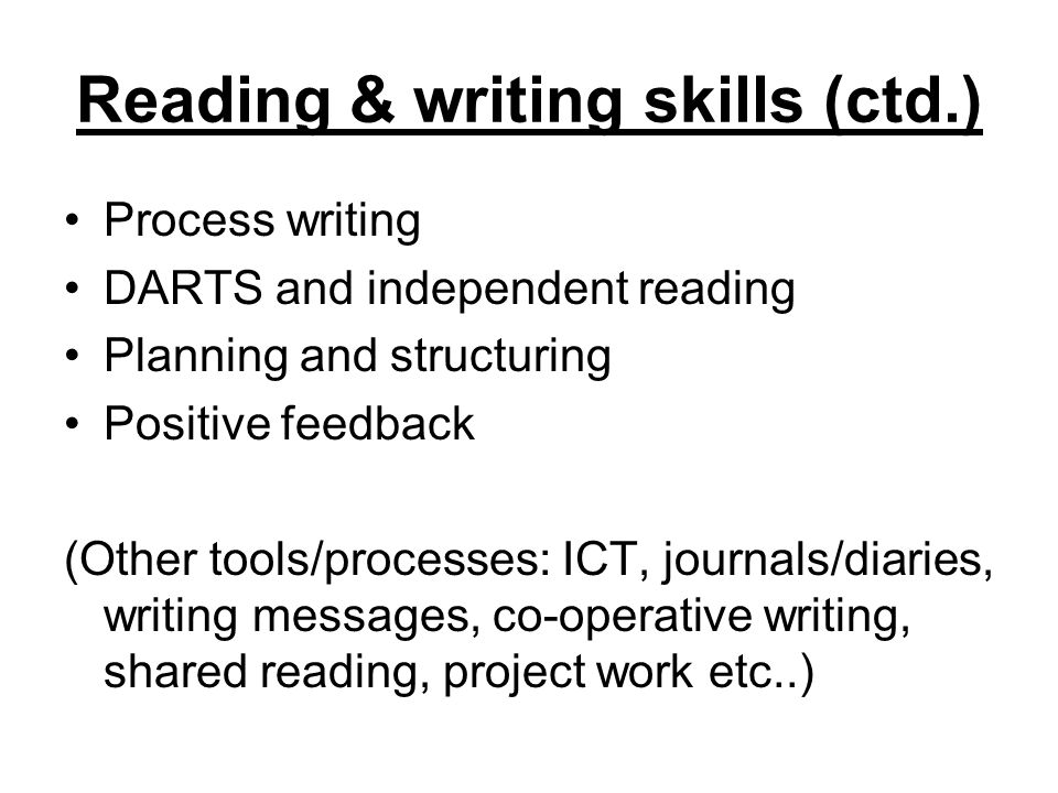 Reading & writing skills (ctd.)