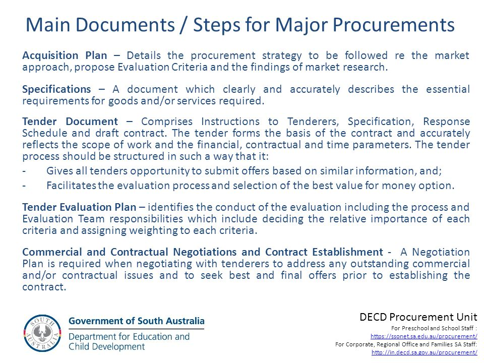 Main Documents / Steps for Major Procurements