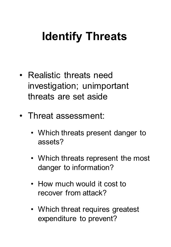 Identify Threats Realistic threats need investigation; unimportant threats are set aside. Threat assessment: