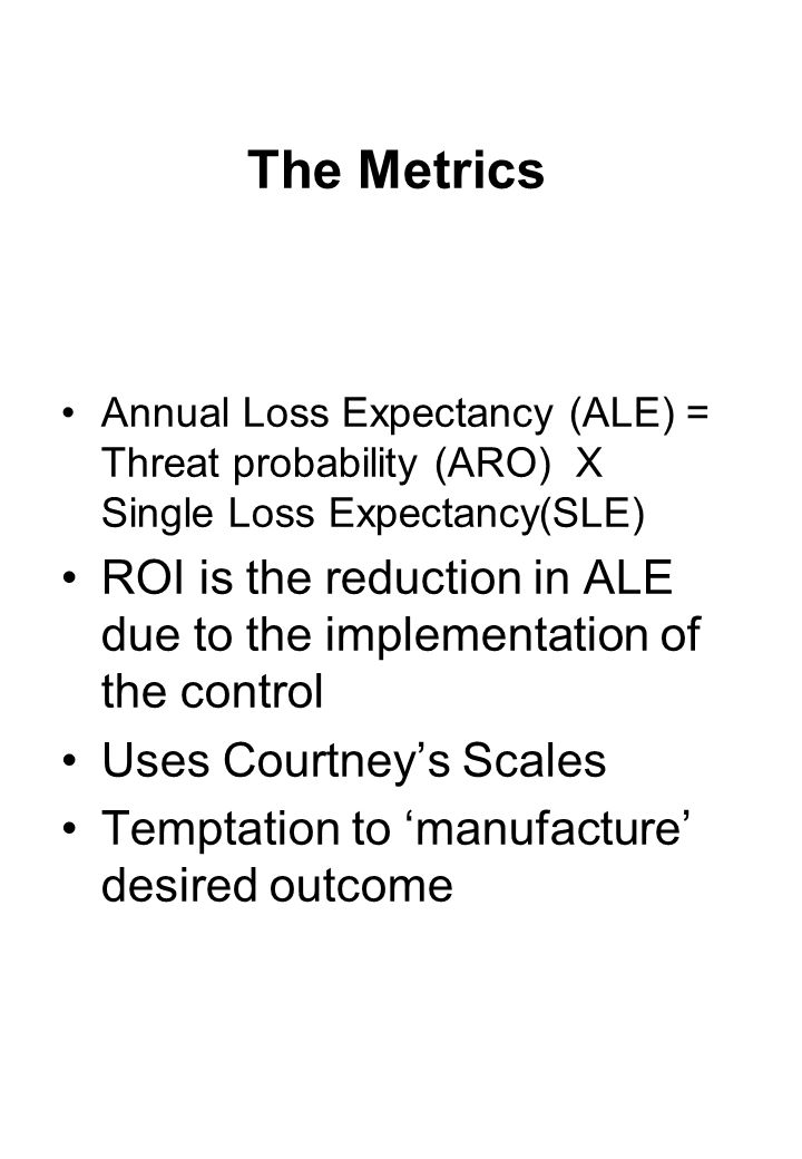 The Metrics Annual Loss Expectancy (ALE) = Threat probability (ARO) X Single Loss Expectancy(SLE)
