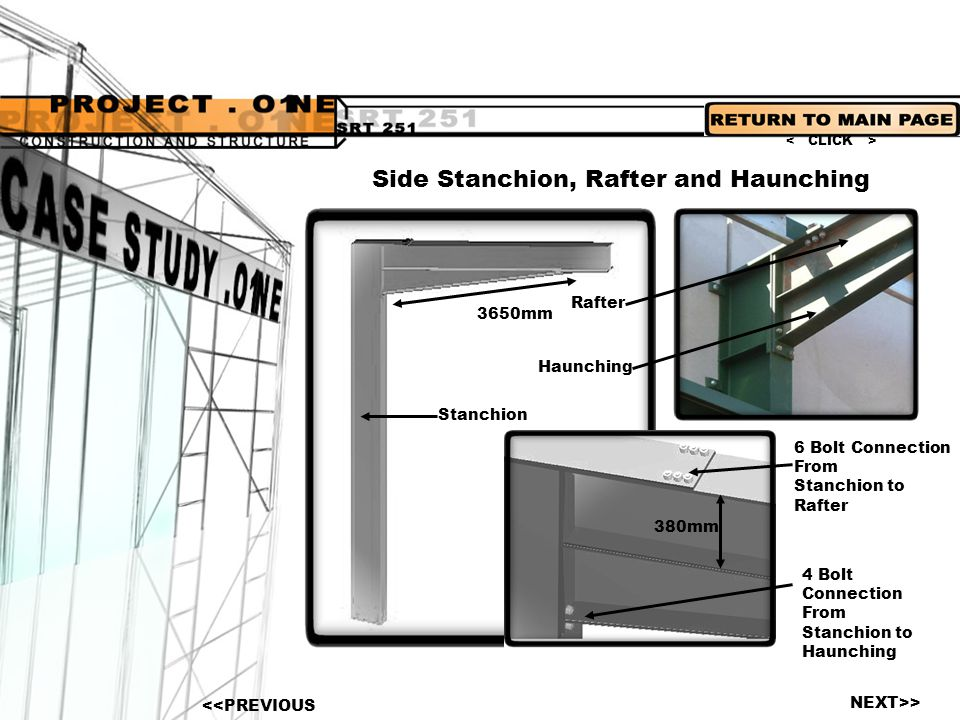 Side Stanchion, Rafter and Haunching