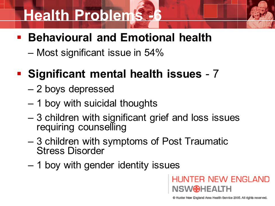 Health Problems -6 Behavioural and Emotional health
