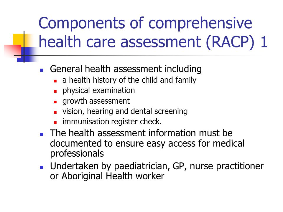 Components of comprehensive health care assessment (RACP) 1