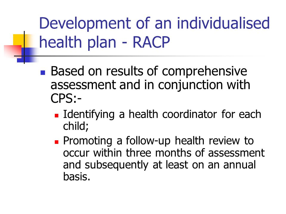 Development of an individualised health plan - RACP