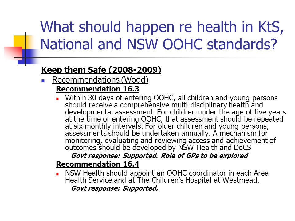 What should happen re health in KtS, National and NSW OOHC standards