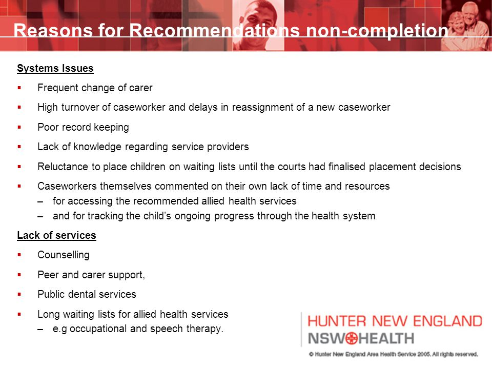 Reasons for Recommendations non-completion