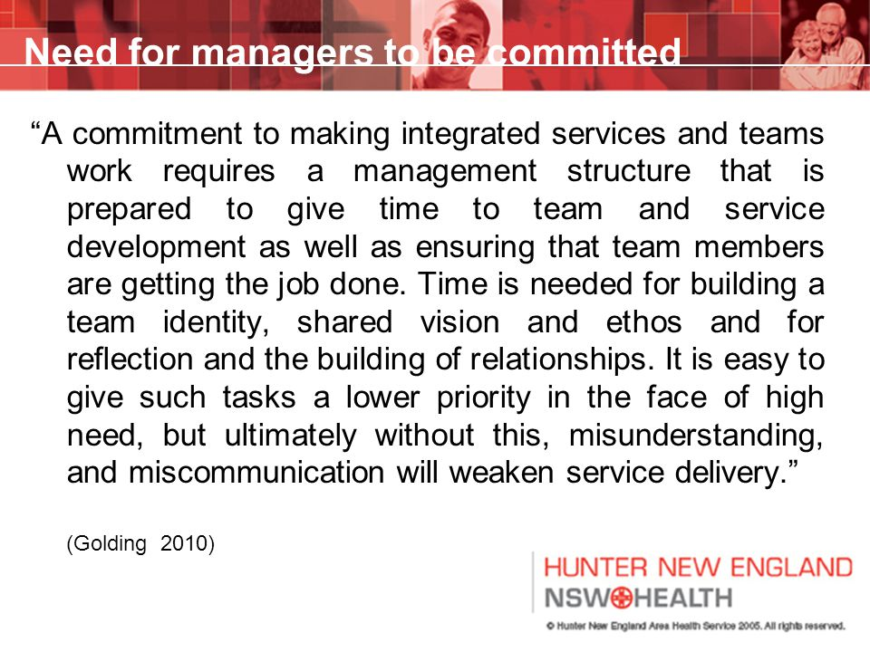 Need for managers to be committed