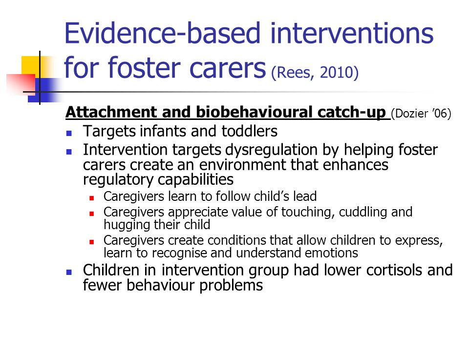 Evidence-based interventions for foster carers (Rees, 2010)