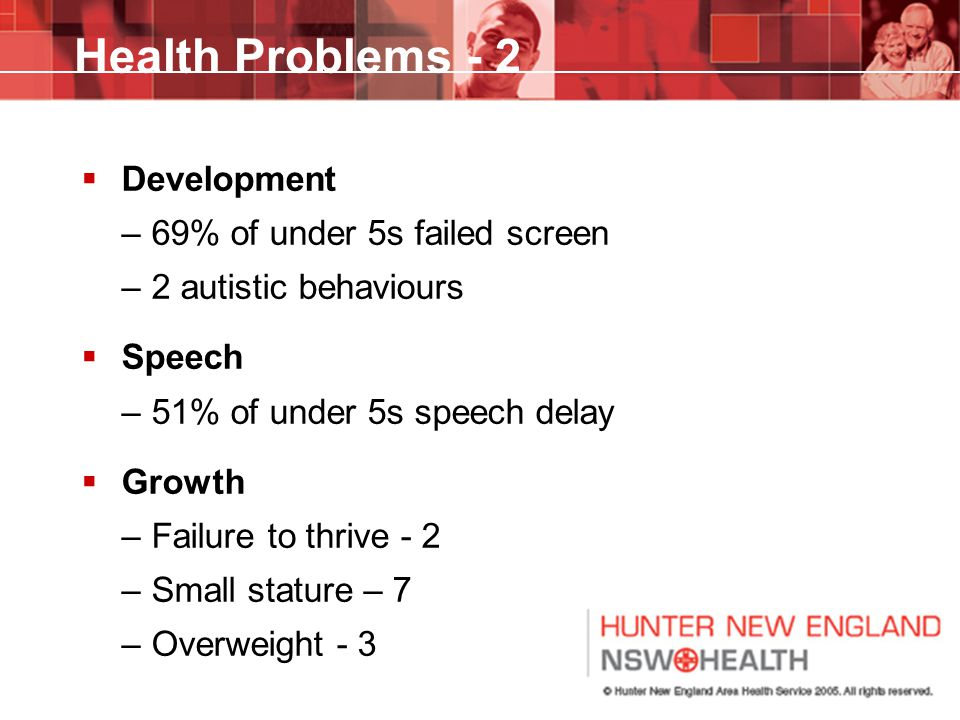 Health Problems - 2 Development 69% of under 5s failed screen