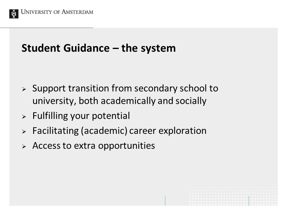 Student Guidance – the system