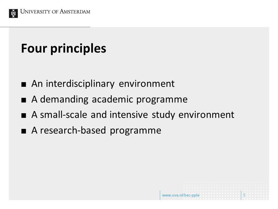 Four principles An interdisciplinary environment