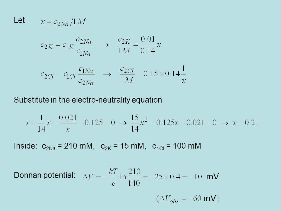 Let Substitute in the electro-neutrality equation. Inside: c2Na = 210 mM, c2K = 15 mM, c1Cl = 100 mM.