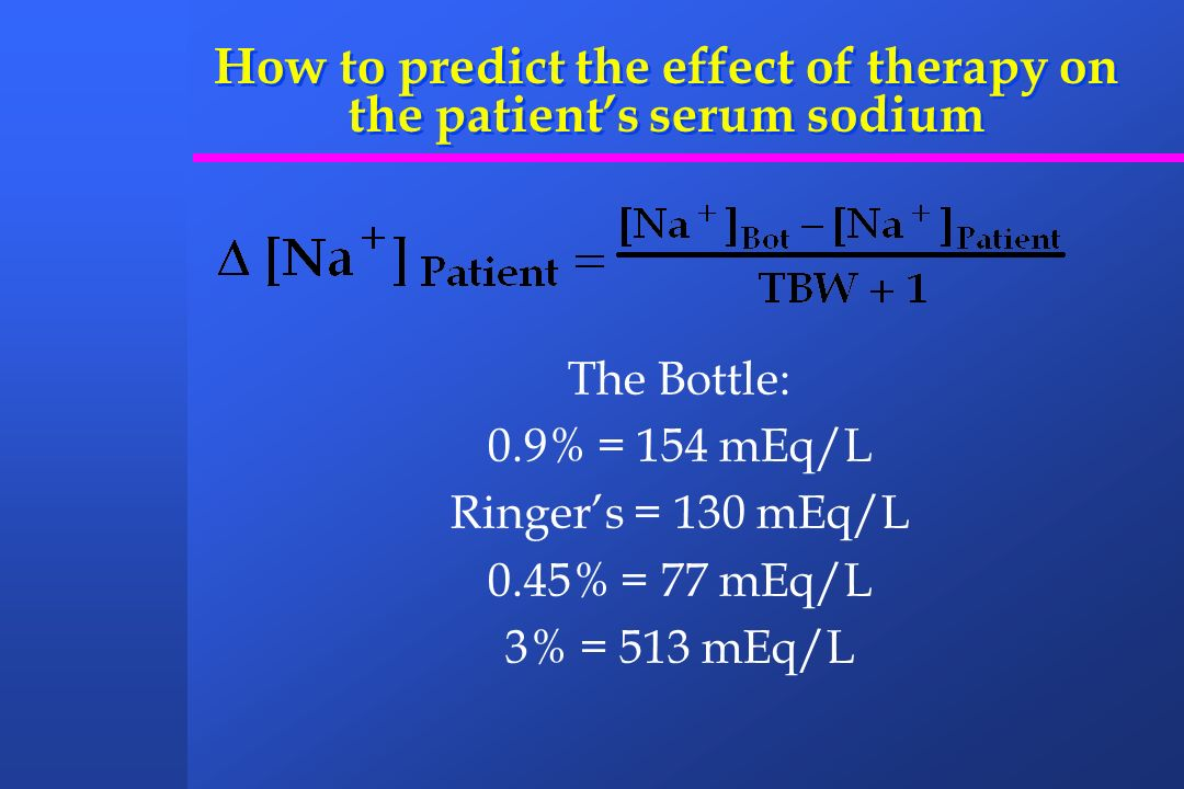 How to predict the effect of therapy on the patient's serum sodium