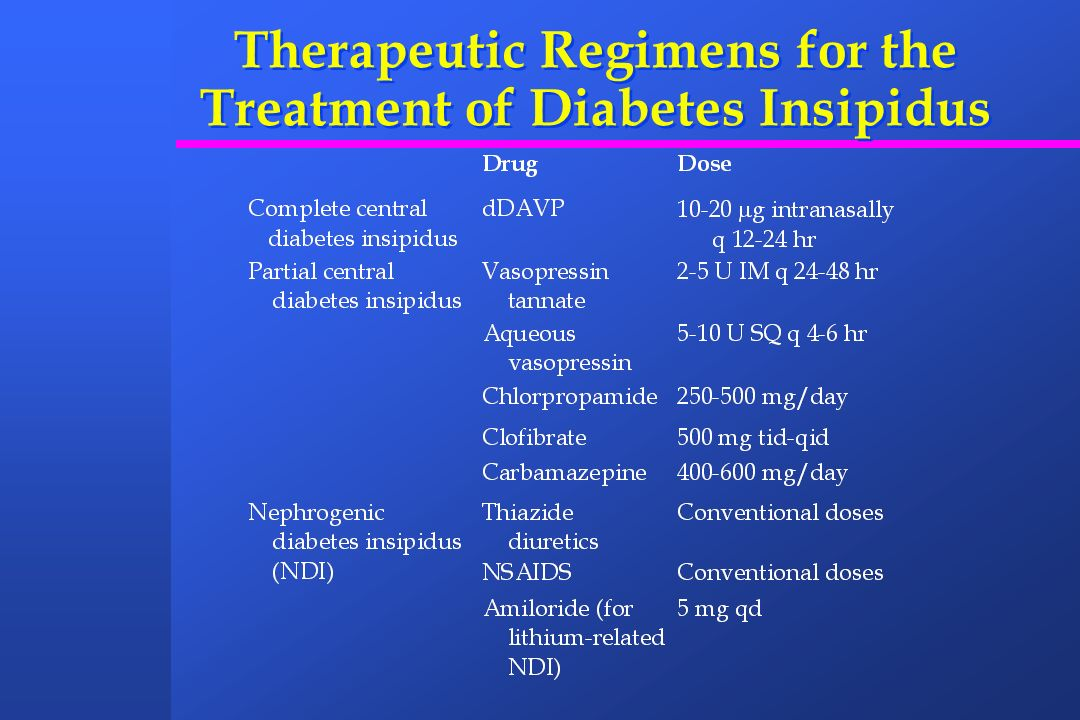 Therapeutic Regimens for the Treatment of Diabetes Insipidus