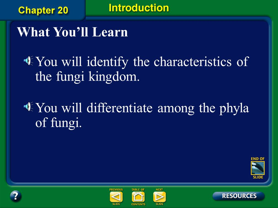 You will identify the characteristics of the fungi kingdom.