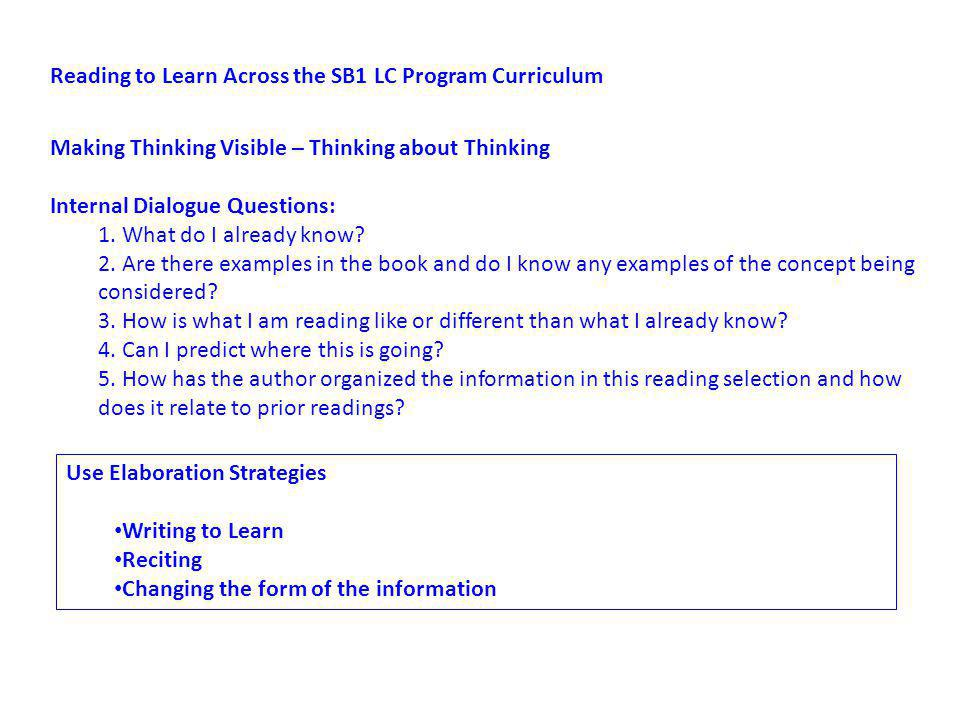 Reading to Learn Across the SB1 LC Program Curriculum