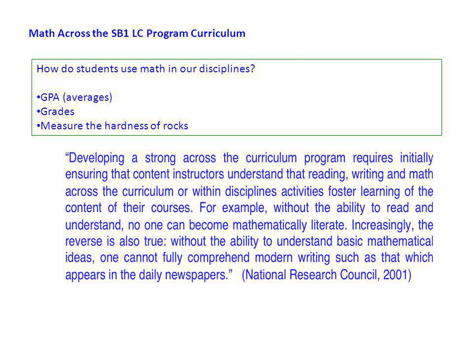 Math Across the SB1 LC Program Curriculum