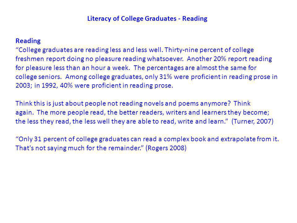 Literacy of College Graduates - Reading