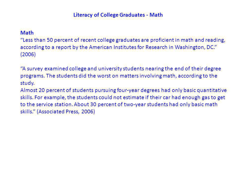 Literacy of College Graduates - Math