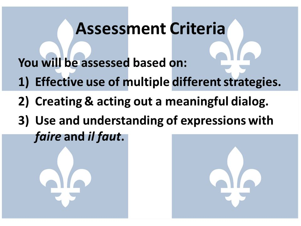 Assessment Criteria You will be assessed based on: