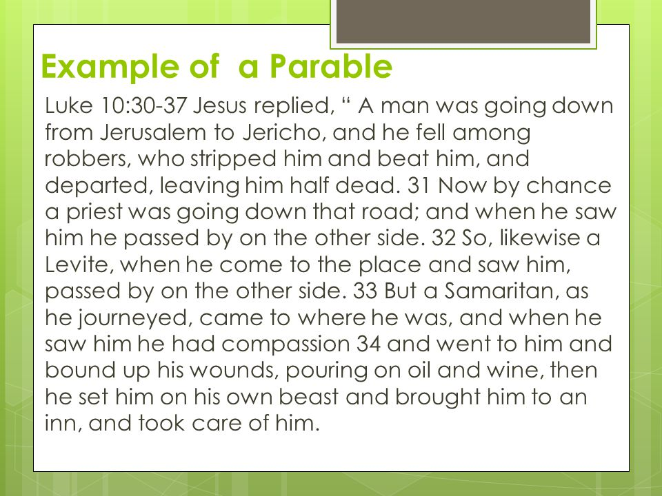 Example of a Parable